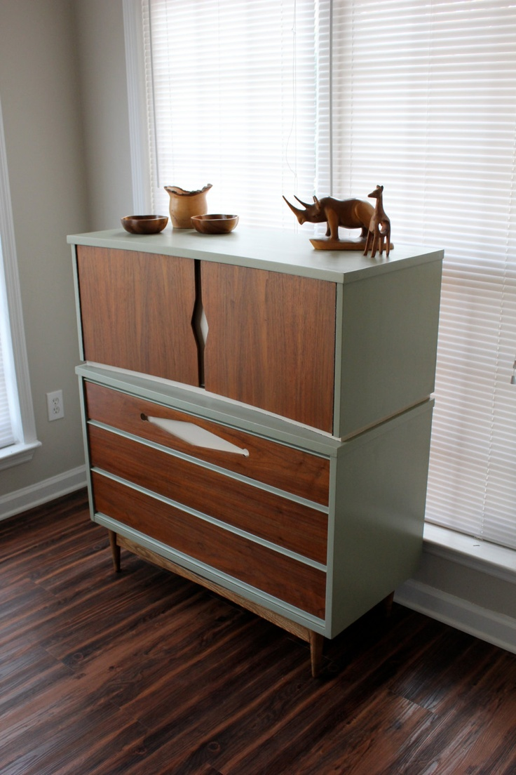 Dresser with original stain on drawers and painted frame and detail