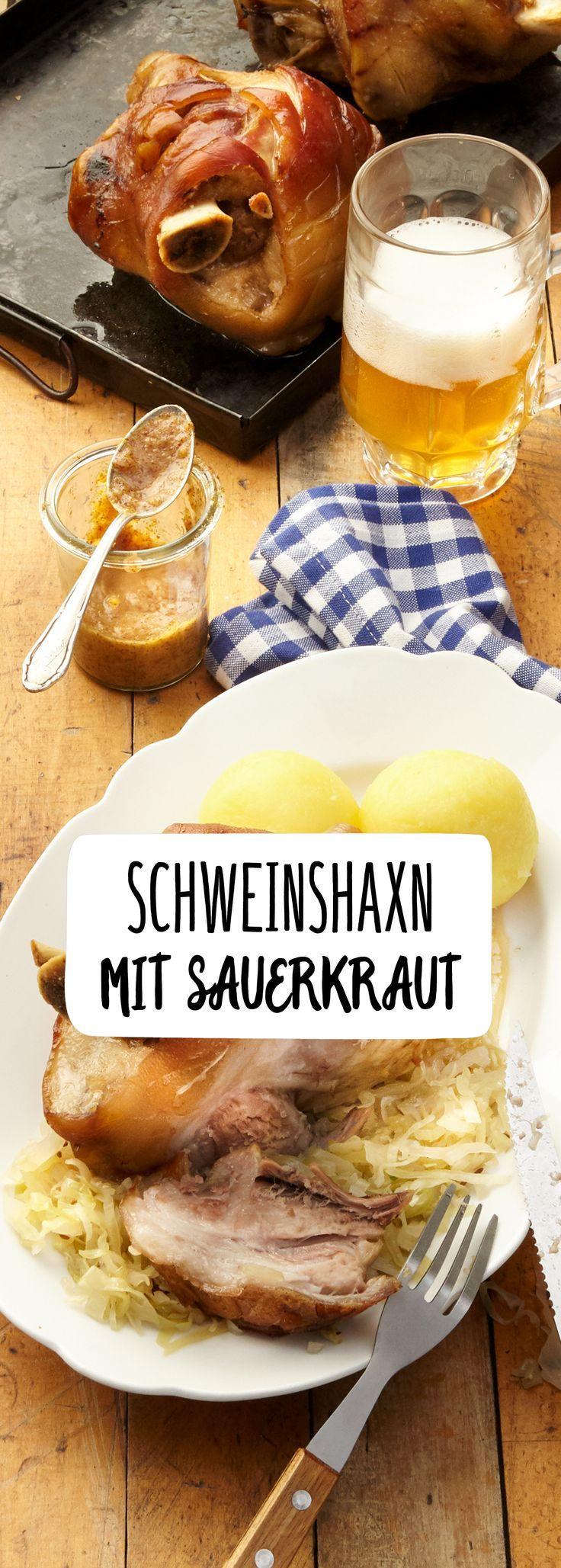 Schwein Haxe Sauerkraut Fleisch Haupt Mahlzeit Gericht Klöße Kartoffel Bayrisch Alpen Deftig Heiß Bier Hunger Ofen Zart Saftig