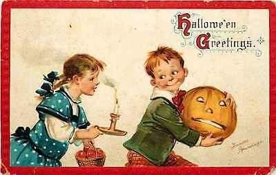 Halloween 1908 Artist Signed Brundage Boy Jack o Lantern Girl Candle Postcard…
