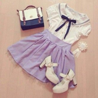 blouse pastel goth sailor top cute kawaii bag