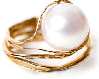 Anillo de compromiso de perla - Sur mar australiano perla oro anillo - 18 k amarillo oro perla anillo de compromiso - moderno anillo de compromiso