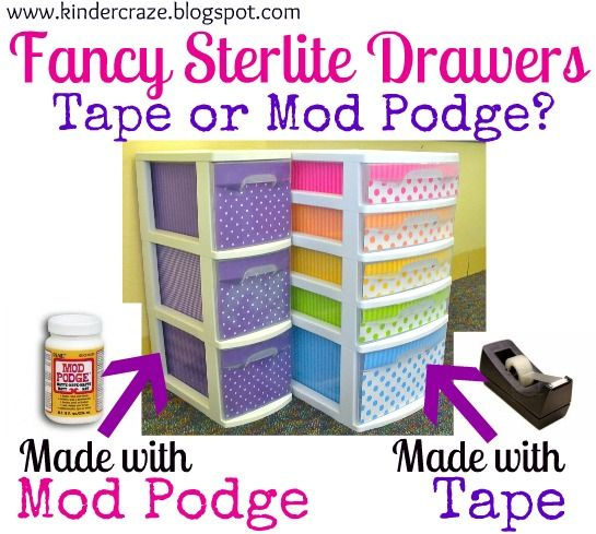 A follow-up to help Fancy Up your Sterlite Drawers. The update includes TEMPLATE info & EXPLORES MOD PODGE!!!!