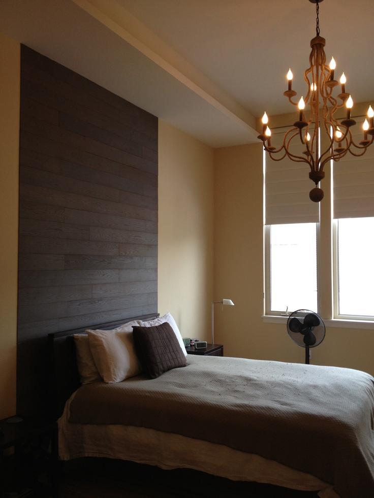 stikwood Plum headboard feature wall  Master bedroom