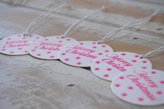 Merry Christmas Neon Pink Letterpress Gift Tags  by LittlePeachCo, $10.00