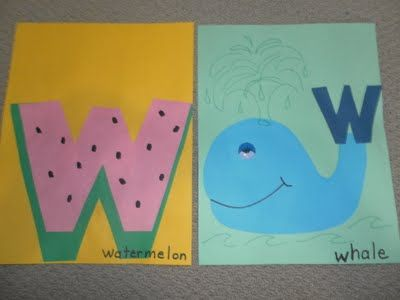 W for watermelon and whale