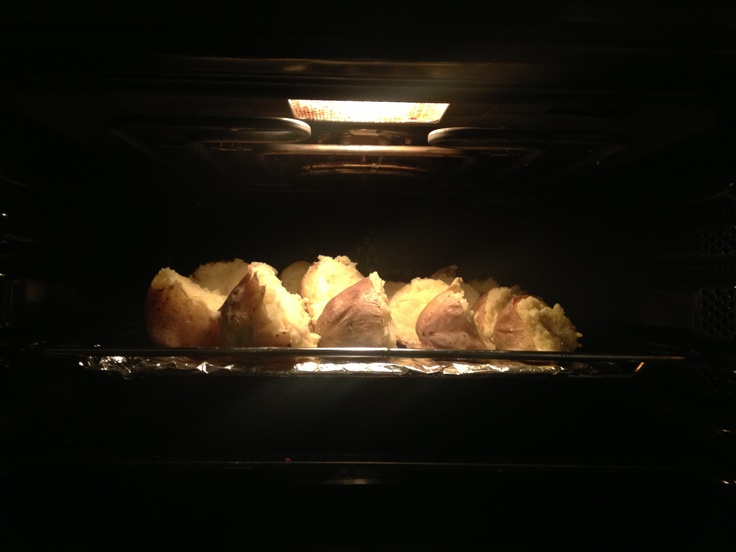 Cheese-stuffed potatoes. Love them! One of my favourite meals :D
