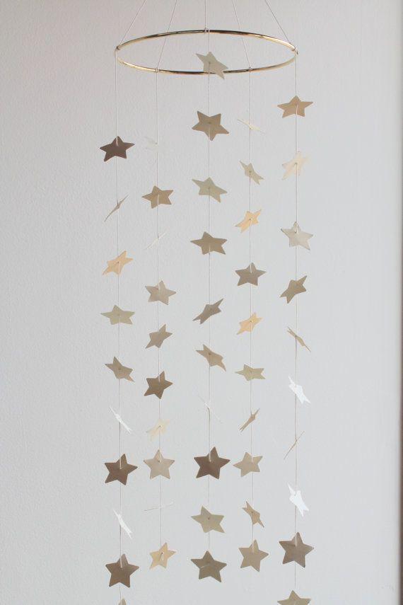 Gold Star Mobile Cream Baby Boy Mobile Baby Girl Sparkle Glitter