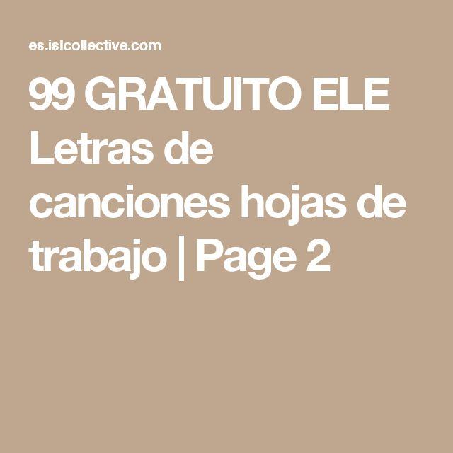 99 GRATUITO ELE Letras de canciones hojas de trabajo | Page 2