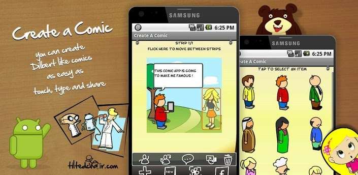 Ever felt the urge to start doodling some funny quips in the form of a comic but found the process of drawing characters too daunting? With Create A Comic you can create Dilbert like comics as easy as touch, type and share. It's so easy even your grandmother could make comics!
