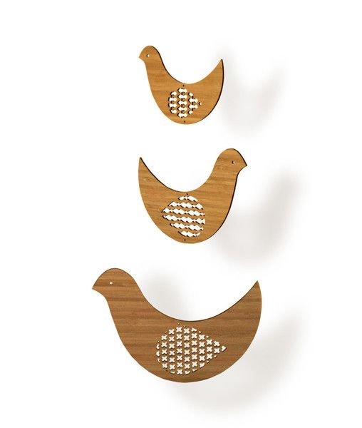 This bird mobile has been laser-cut from sustainably harvested bamboo, an earth-friendly renewable resource.