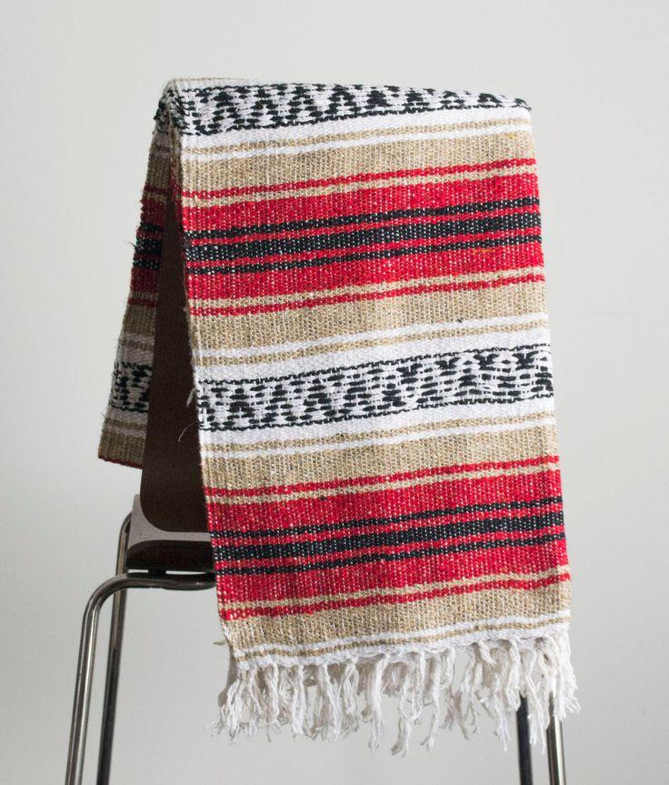 Manta mexicana rojo & Yoga Tan manta, tejida a mano, Sarape, Azteca tiro Falsa