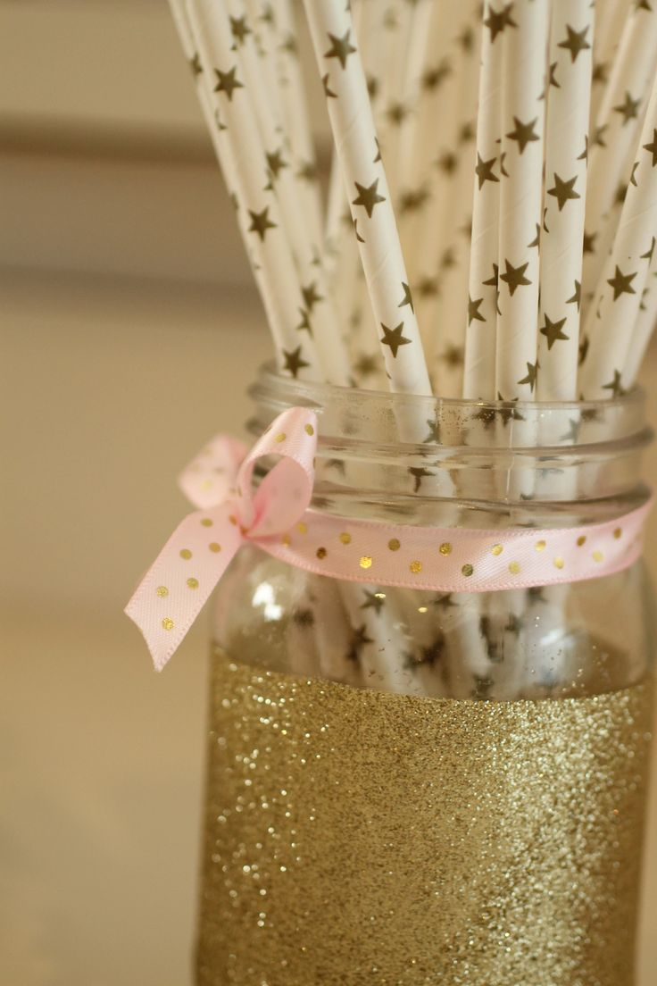 twinkle twinkle little star, party, first birthday, gold stars, paper straws, pink and gold