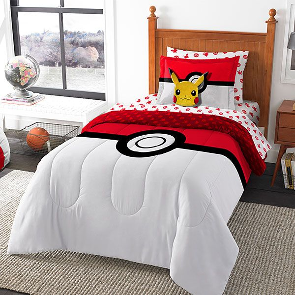 Catch some Zzzzzs after you catch 'em all! You get everything you need to transform your own bed into a Poké Ball comfort zone. Sheets, comforter, and pillow sham feature the black, red, and white Poké Ball design. Available in Twin, Full, or Qu