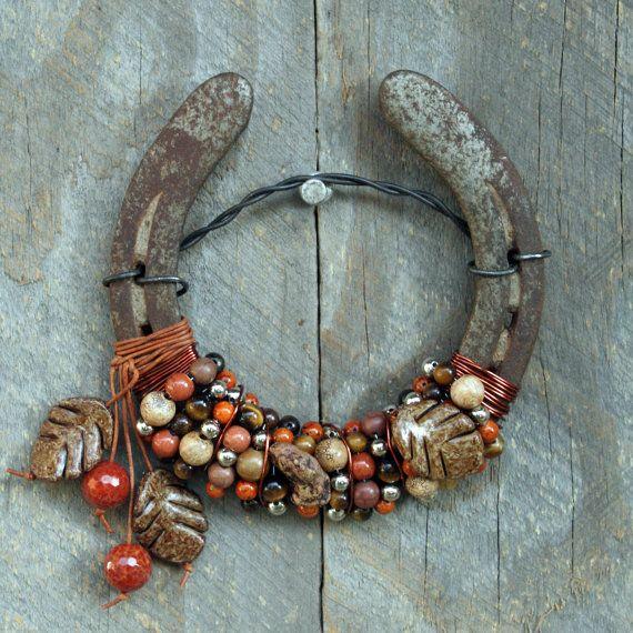 Autumn Joy Beaded Horseshoe by WhiteFeatherJewelry on Etsy, $38.00