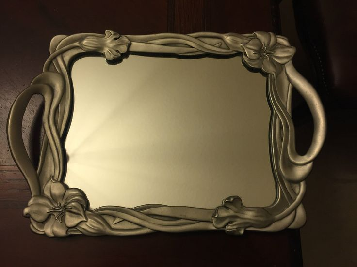 Vintage Seagull Pewter Canada Mirror Tray Floral ART Nouveau Style | eBay