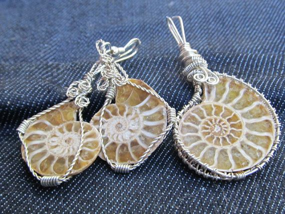 Matching wire wrapped ammonite fossil earring by DivineTreasurestc, $85.00