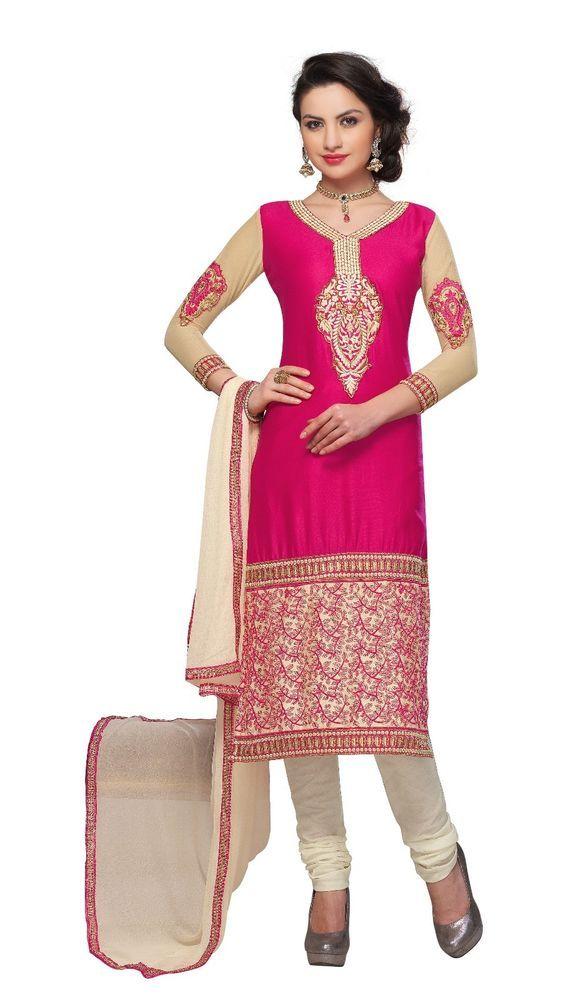New Indian Ethnic Fancy Designer Salwar Kameez Cotton Embroidered Dress Material #Unbranded #IndianStraightsalwarSuit