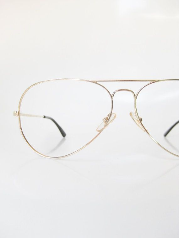 2846561b816 1970s Mens Wire Rim Aviator Eyeglasses Gold Metallic Deadstock Vintage  Glasses Eyeglass Frames Optical Sunglasses Oversized Huge