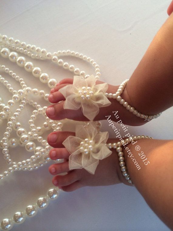 Baby and toddler barefoot sandals - christening - baptism  - baby shower gift - handmade - baby girl gift - photo prop
