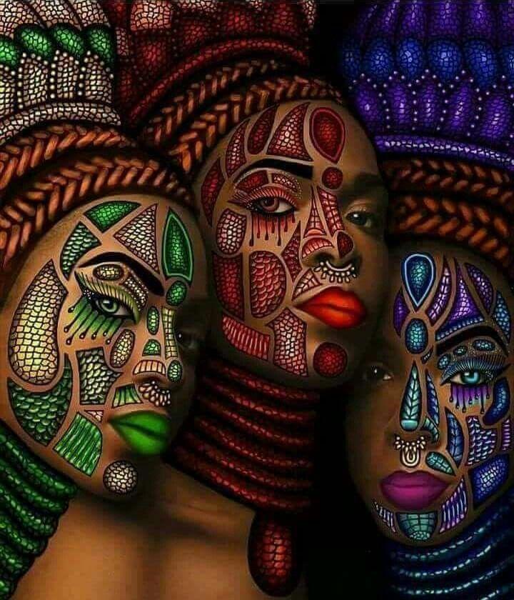 African Women Often Present an Artistry of the Skin.  lmr