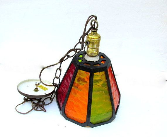 Vintage Hanging Faux Stained Glass Light by CapeCodLaurieDesigns