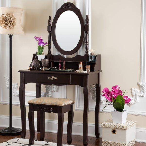 Bentonville Vanity Set With Mirror And Stool Vanity Table Set Vanity Set With Mirror Dressing Table Set
