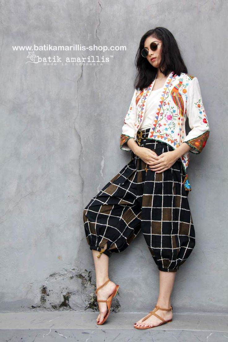 Batik Amarillis made in Indonesia www.batikamarillis-shop.com Batik Amarillis's Helia Pants-  which features hand drawn batik Gedog Tuban-the colors  itself is mystical , you can't find Anywhere else!! Batik Amarillis's Helia Pants is inspired by  eastern ethnic Pants also Martial arts outfit  inspired  such as Judo and Jiu-Jitsu . how at the same time they look fabulous ,comfortable and stylish !