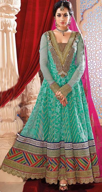 USD 100.21 Blue Faux Georgette Floor Length Designer Anarkali Salwar Kameez 30192