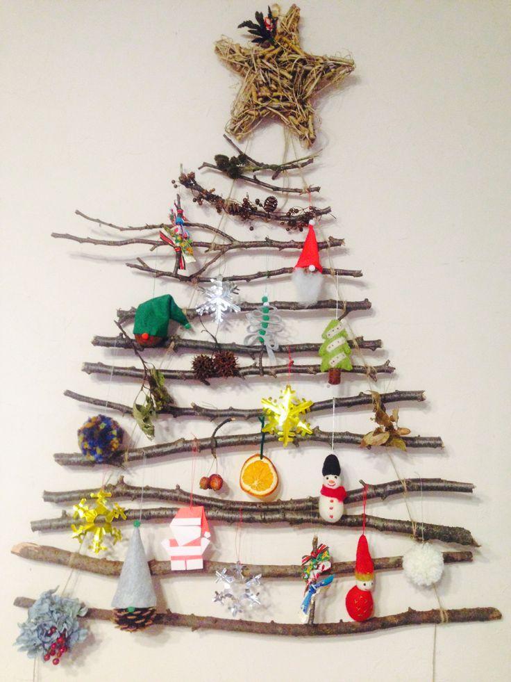 #クリスマスツリー #手作りオーナメント #桜の木の枝
