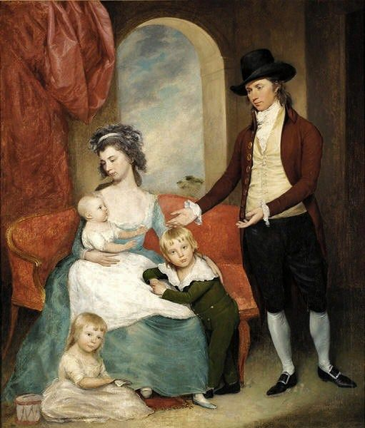 Joseph Wright (1756-1793) Family portrait of Artist's Family. Joseph Wright & Sarah Vandervoordt-Wright, in an unfinished 1793 painting, with their children; Sarah (on floor), Joseph & baby Harriet. Joseph, Jr. & Sarah are believe to be twins. Wright's painting was left unfinished, when both he & Sarah died from yellow fever during the 1793 Philadelphia epidemic.
