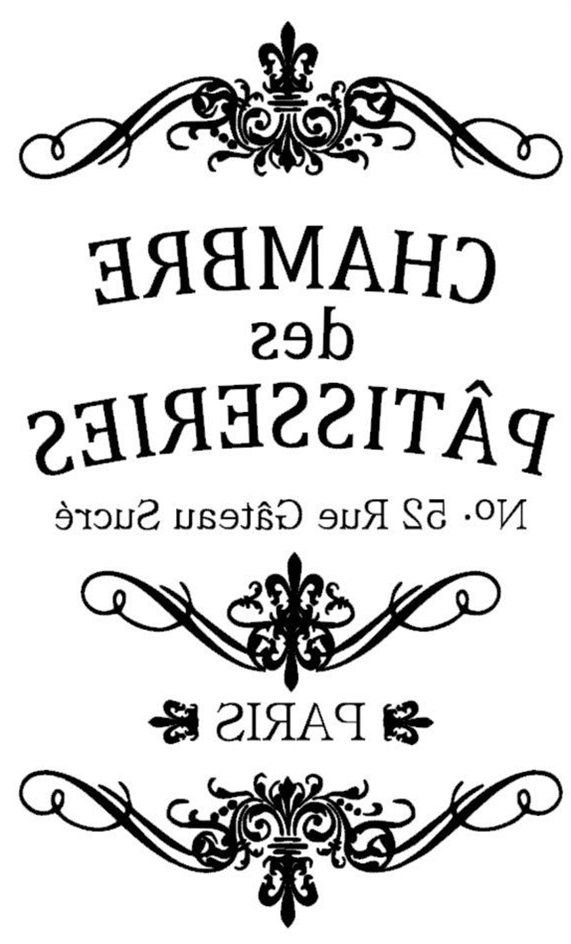 .Etiqueta postal Chambre de Patisserie transfer. Blanco y negro.
