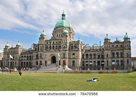 The British Columbia Parliament Buildings are located in Victoria, British Columbia, Canada and are home to the Legislative Assembly of British Columbia. - stock photo