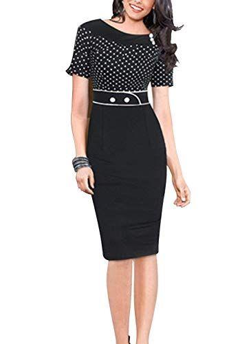 8ccd21e40e Womens Dress Vintage 1940 Lady Pencil Bodycon Patchwork Office Dresses  Black M