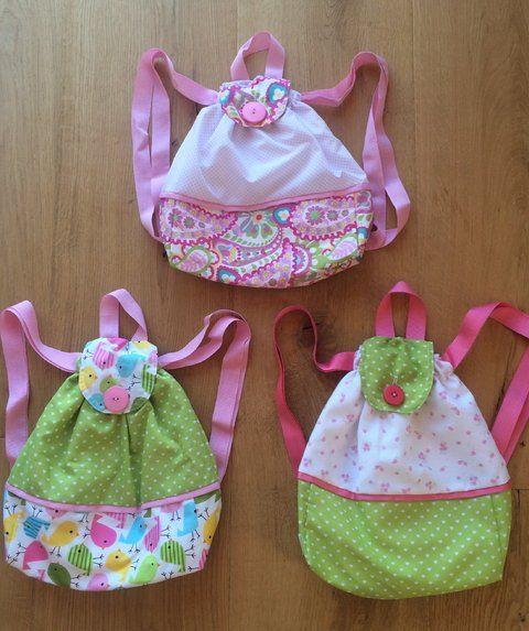Mochilas de Tela con rosa y verde - comprar online
