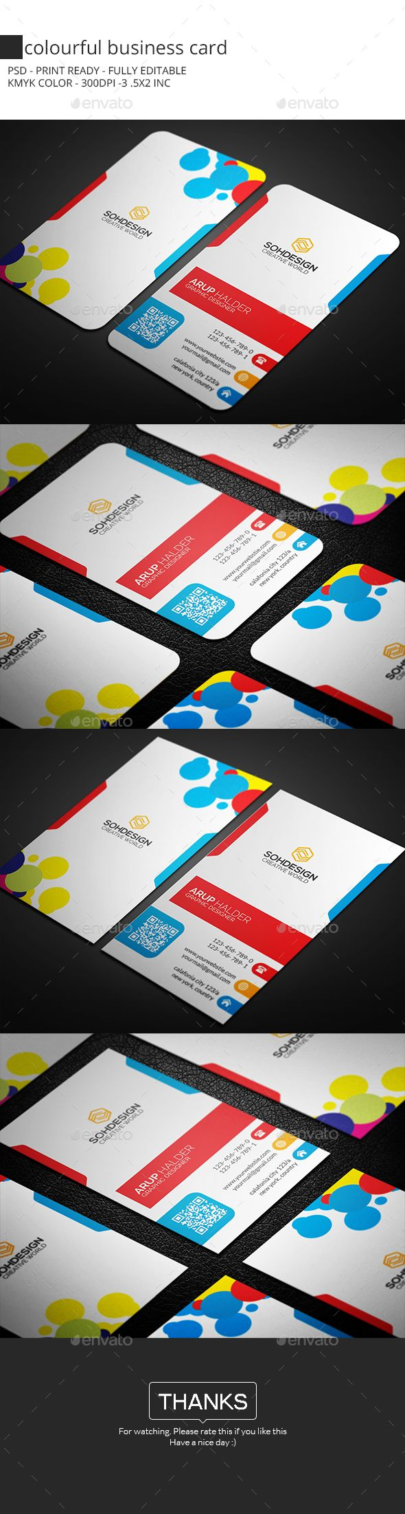 Colourful Business Card Template PSD #design Download: http://graphicriver.net/item/colourful-business-card/14453639?ref=ksioks