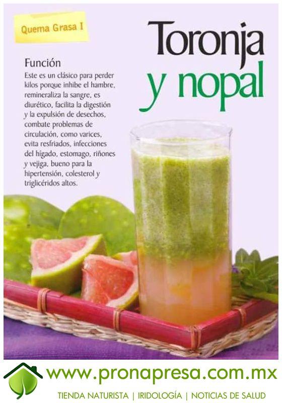 Jugo Natural de Toronja y Nopal: Quema grasa I. #ConsejosDeSalud…