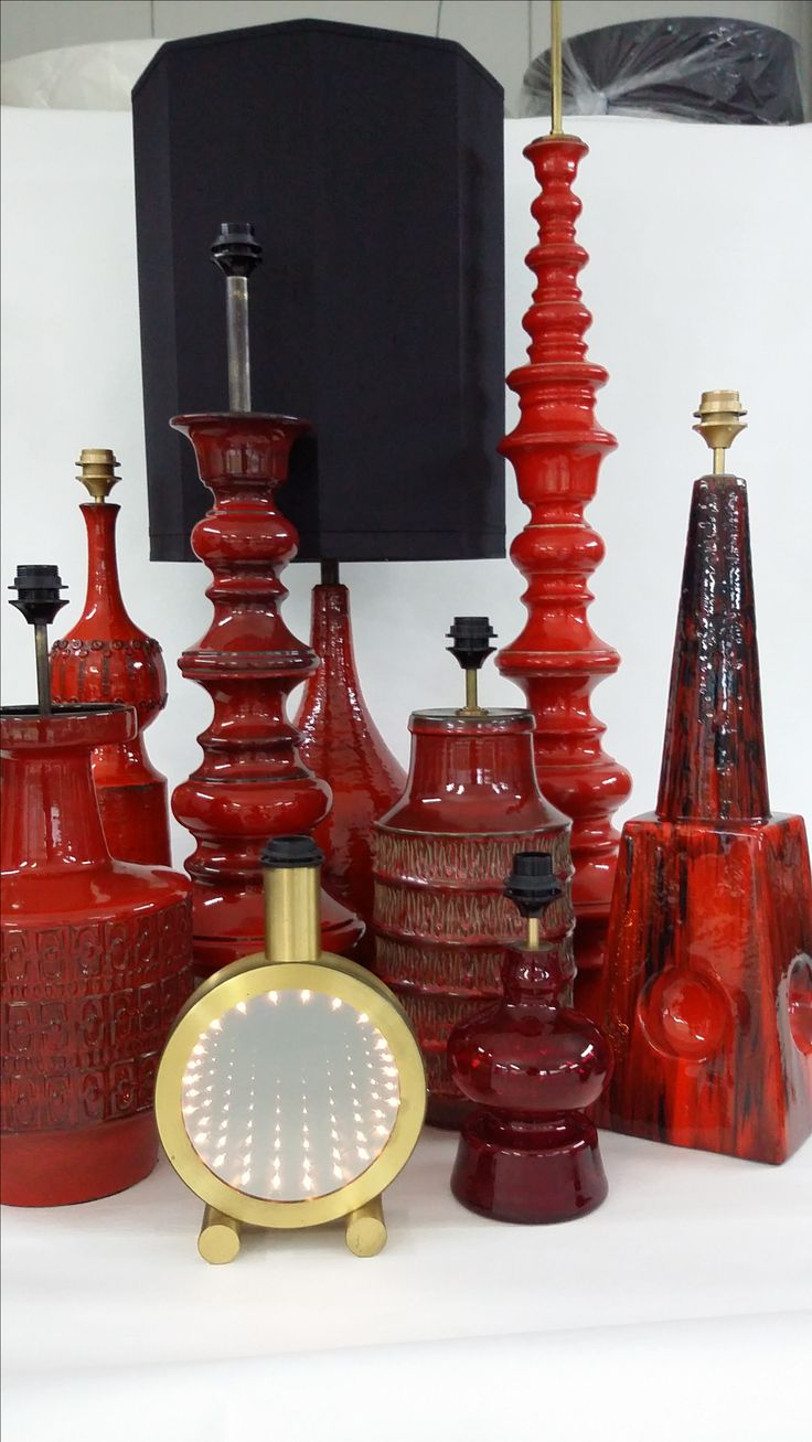 A selection of vintage table lamps, all in a shade red glazed, Germany eventies