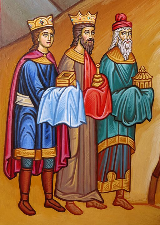 The wise men from the new Nativity icon, which is now nearing completion. The angels will come next.