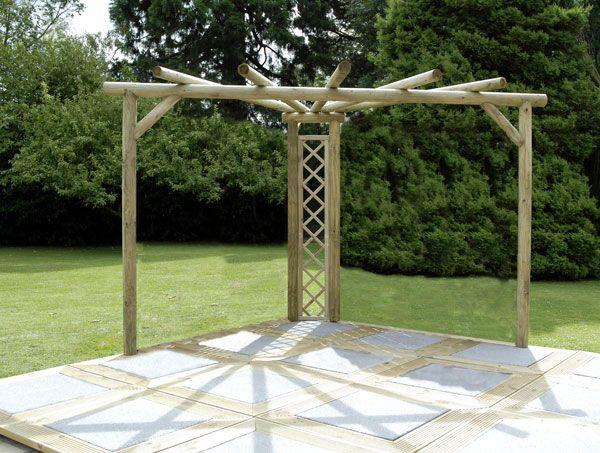 Kinlet corner pergola kit made with rustic poles.