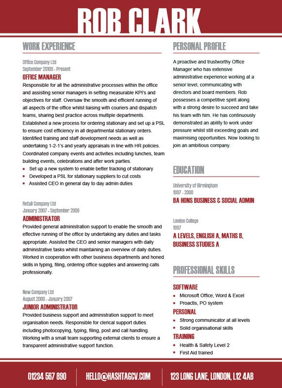28 best Standout CV \/ Resume Designs images on Pinterest Design - clerical tasks
