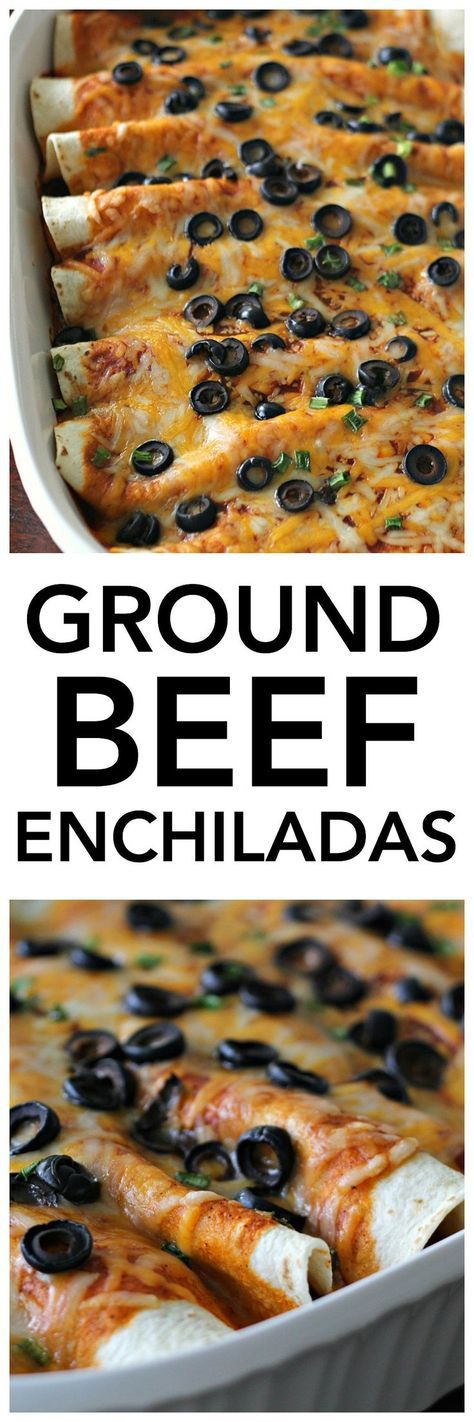 Ground Beef Enchiladas Recipe from SixSistersStuff.com | This made from scratch dinner tastes phenomenal and the kids will love it! | Mexican Food Ideas | Family Dinner