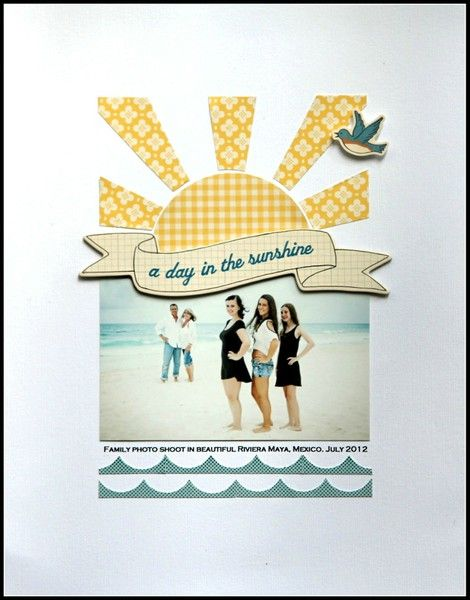 -A Day In The Sunshine layout @Jody Rieck Wenke   Love the white space and the wonderful composition of this LO.
