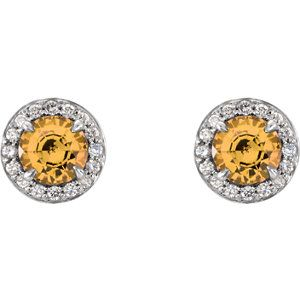 Celebrate November Birthdays with these Citrine & Diamond Halo-Style Earrings. Click through for product details OR to locate a jeweler near you! #HowIStuller #HBDNovember