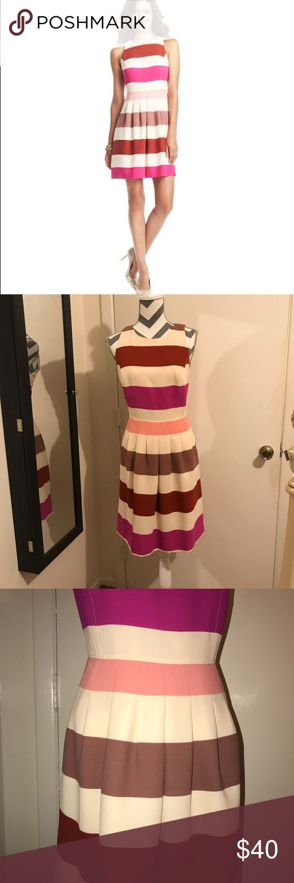 Anne Taylor loft striped dress. Stunning Anne Taylor loft dress. Short sleeve and midi length. Lovely for date night or a day in the office. I love to wear this with wears and flats. Classic dress. LOFT Dresses Midi