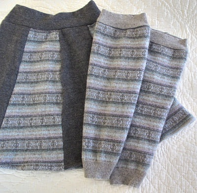 Upcycled sweater to skirt and leg warmers.