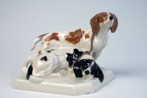 A rare Meissen group of spaniels