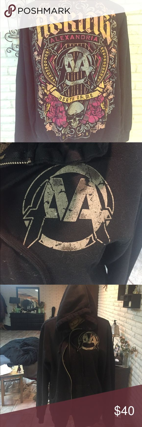 Asking Alexandria zip up. Gift to me from Worsnop When I first became friends with asking Alexandria the first time I met them, Danny Worsnop gave me his sweatshirt when they were on tour in the US for the first time. It's just time to pass this one on to the next AA family member. asking alexandria Sweaters