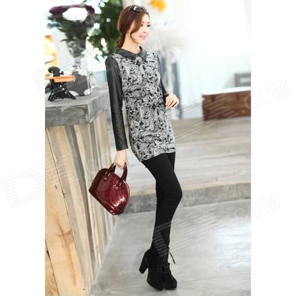 Woman's Fashionable Retro Pattern Cotton Blending + PU Skinny Dress - Black…