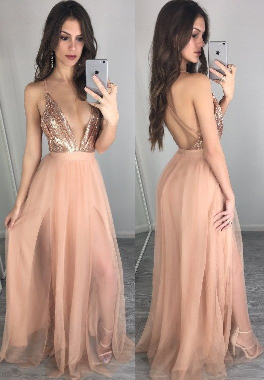 Spaghetti Strap Sexy Prom Dress,Nude Sequins Formal Dress with Deep V-neck,Backless Pageant Gown,2119
