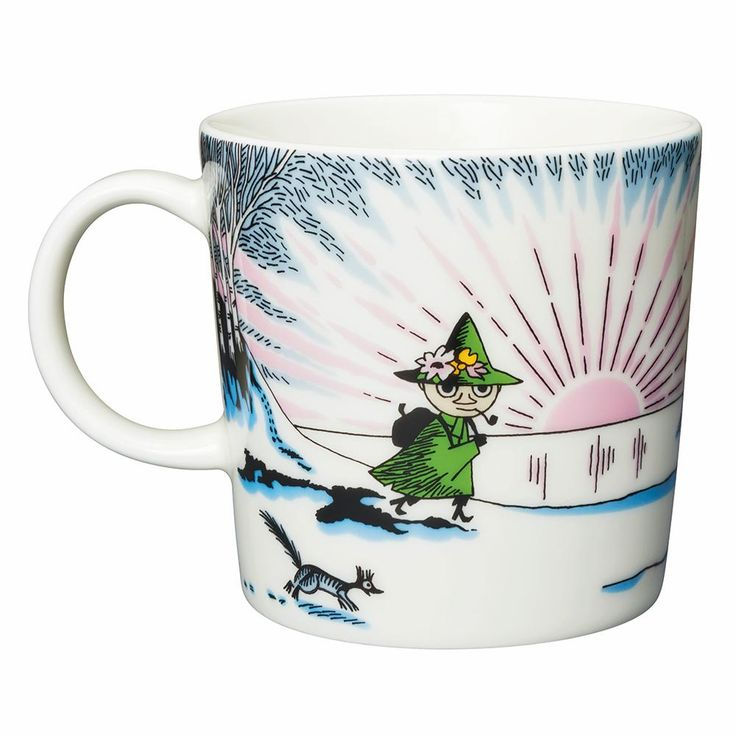 Available in October. Moomin winter season mug 2017, Spring winter features Moomintroll, Little My and Snufkin from the book Moominland Midwinter. The design is